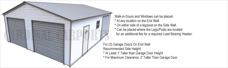 Garage Door Guide with Garage Doors in End Wall and Side Wall
