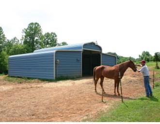 Metal Horse Barn | Regular Roof | 36W x 26L x 9H | Shelter
