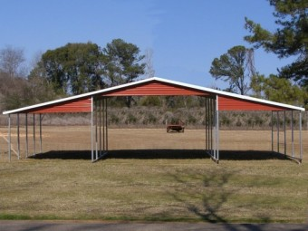 Barn Shelter | Boxed Eave Roof | 42W x 21L x 10H | Continuous Roof
