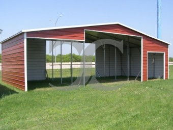 Metal Barn Shelter | Boxed Eave Roof | 42W x 21L x 12H | Continuous Roof