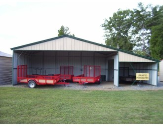 All-Steel Barn Shelter | Vertical Roof | 42W x 21L x 10H | Continuous Roof