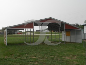Metal Barn Shelter | Vertical Roof | 44W x 21L x 10H | Barn
