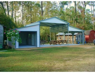 Metal Carolina Barn | Boxed Eave Roof | 42W x 21L x 12H | Raised Center Aisle