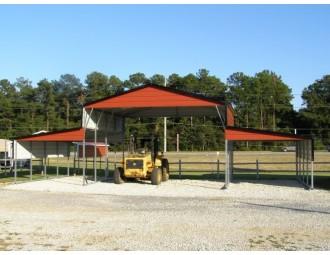 Metal Carolina Barn   Boxed Eave Roof   46W x 21L x 12H   Barn Shelter