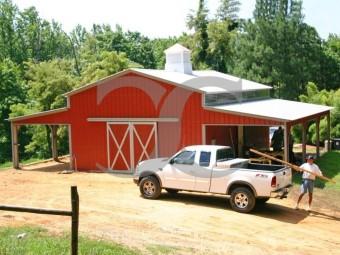 Metal Barn Workshop | Vertical Roof | 46W x 31L x 12H | Enclosed Barn