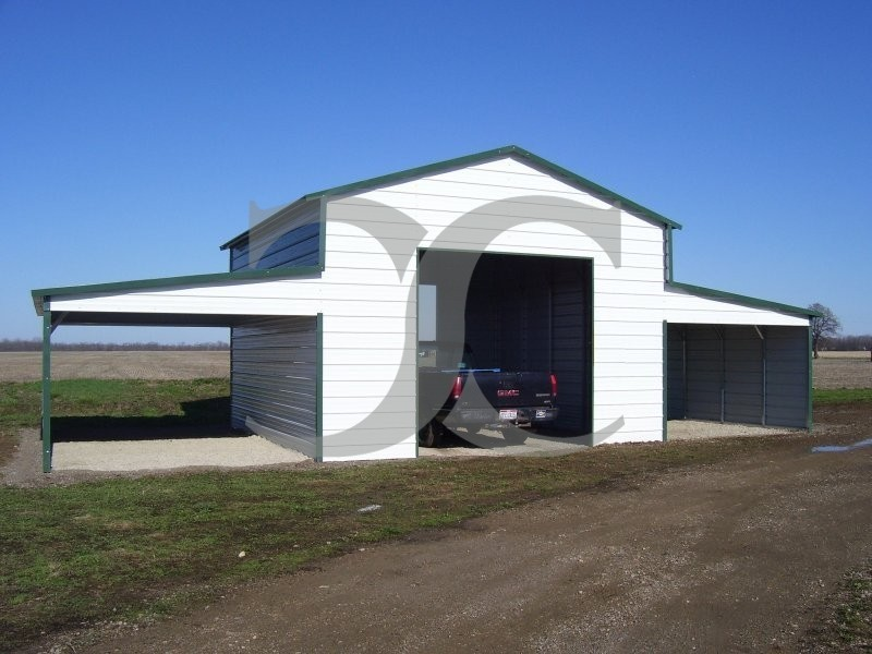 Raised Center Aisle Barn Vertical Roof 42w X 26l X 12h