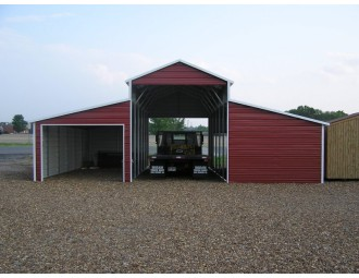 Metal Horse Barn | Boxed Eave Roof | 36W x 31L x 12H | Raised Center Aisle