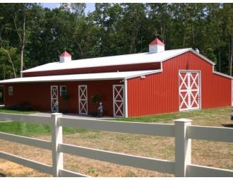 Enclosed Metal Barn | Vertical Roof | 44W x 41L x 12H | Carolina Barn