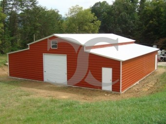 Enclosed Carolina Style Barn | Vertical Roof | 44W x 36L x 12H | Metal Barn