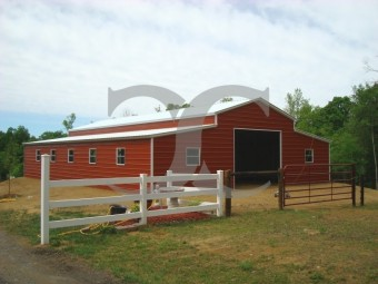 Raised Center Aisle Barn | Vertical Roof | 42W x 41L x 12H | Enclosed Barn