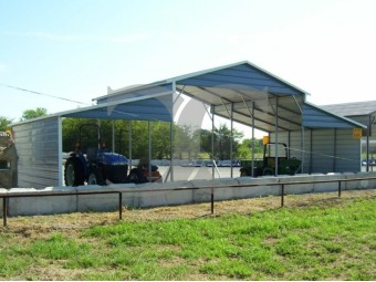Carolina Metal Barn | Boxed Eave Roof | 42W x 21L x 12H | Raised Center