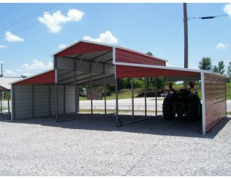 Carolina Metal Barn | Boxed Eave Roof | 36W x 21L x 12H | Raised Center Section