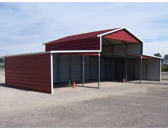 Metal Barn   Boxed Eave Roof   44W x 21L x 12H   Metal Shelter