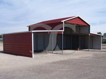 Metal Barn | Boxed Eave Roof | 44W x 21L x 12H | Metal Shelter