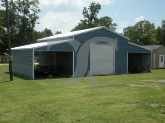 Raised Center Aisle Barn | Vertical Roof | 46W x 26L x 11H | Enclosed Barn