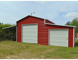 Metal Barn | Boxed Eave Roof | 42W x 26L x 12H | Raised Center Aisle