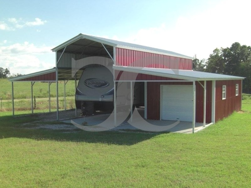Metal Barn Shelters : Metal barn rv shelter vertical roof w l h