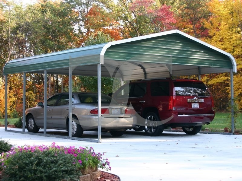 Carport regular roof 18w x 21l x 7h 2 gables for Carport shop combo