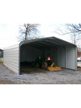 Carport | Regular Roof | 18W x 21L x 6H` | Both Sides Closed | Back End Closed