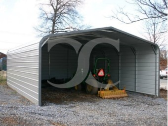 Carport | Regular Roof | 18W x 21L x 6H | Both Sides Closed | Back End Closed