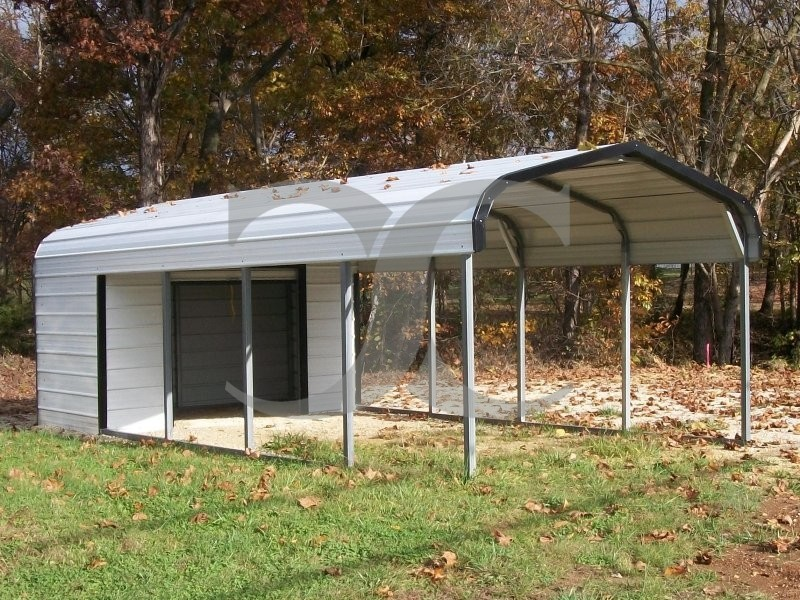 Carport regular roof 12w x 26l x 6h utility carport for Carport shop combo