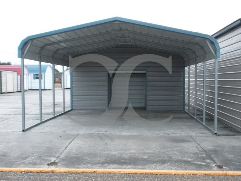 Carport regular roof 18w x 26l x 7h utility carport for Carport shop combo