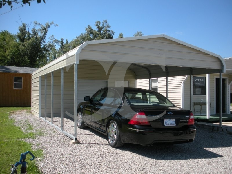 Carport regular roof 18w x 26l x 7h utility carport combo for Carport shop combo