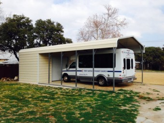Carport | Regular Roof Roof | 16W x 36L x 8H Utility Carport