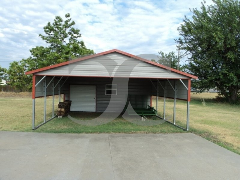Carport regular roof 20w x 26l x 7h utility carport combo for Carport shop combo