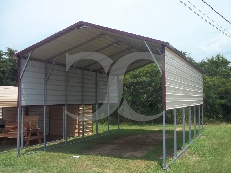 Carport boxed eave roof 18w x 31l x 11h for Carport shop combo