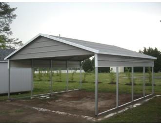 Carport | Boxed Eave Roof | 20W x 21L x 7H | 2 Panels | 2 Gables