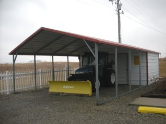 Carport | Boxed Eave Roof | 18W x 31L x 6H Utility Carport Combo