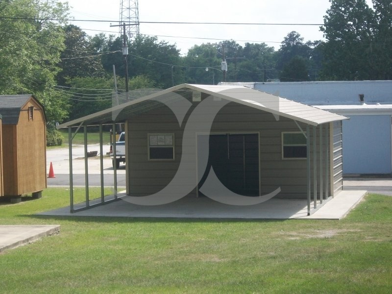 Carport boxed eave roof 22w x 26l x 7h utility carport for Carport shop combo