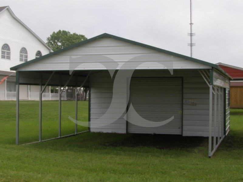 Carport boxed eave roof 24w x 26l x 8h utility carport for Carport shop combo