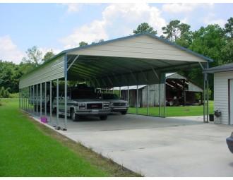 Carport | Vertical Roof | 24W x 61L x 10H | 2 Panels | 2 Gables