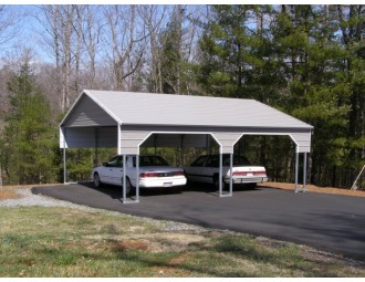 Carport | Boxed Eave Roof | 22W x 26L x 8H` | 2 Gables | 2 3' Panels