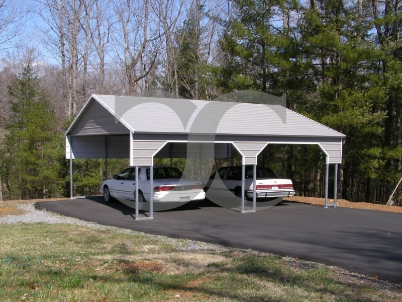 Carport | Boxed Eave Roof | 22W x 26L x 8H | 2 Gables | 2 3' Panels