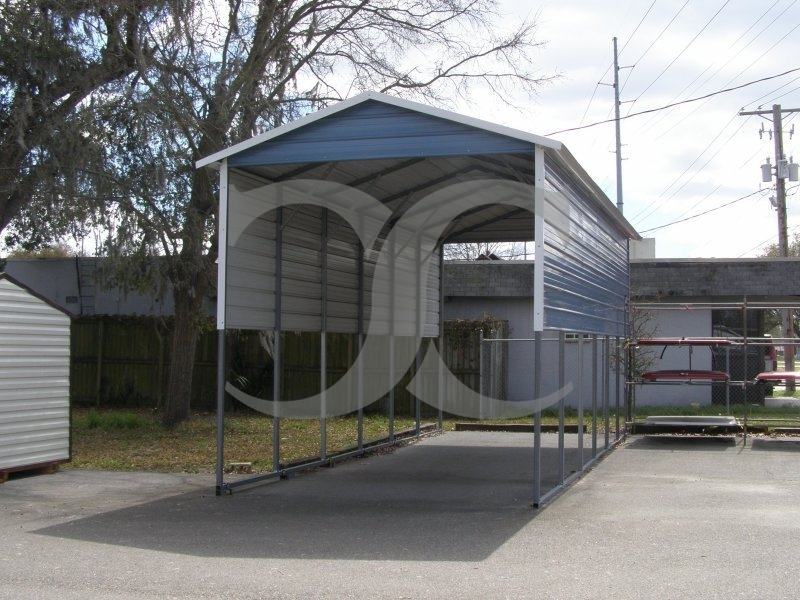 Metal Rv Canopies And Shelters : Carport boxed eave roof w l h panels