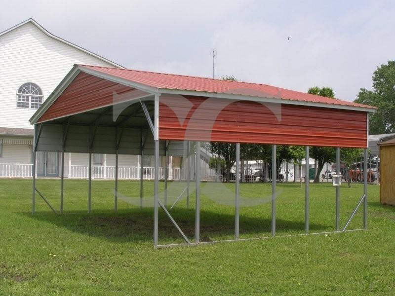 Carport vertical roof 26w x 21l x 10h triple wide for Carport width