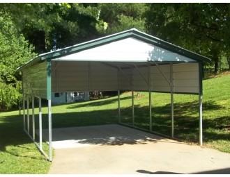Carport | Vertical Roof | 12W x 21L x 7H` | 2 Gables | 2 Panels