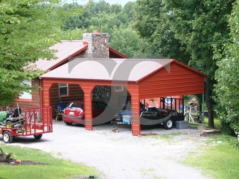 Carport vertical roof 22w x 26l x 9h 1 extended for Gable carport prices