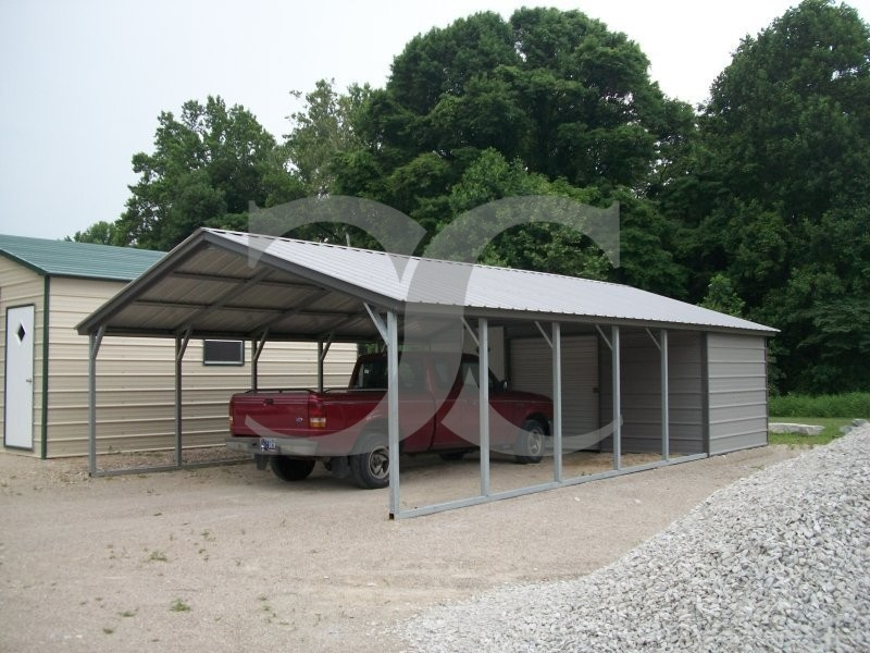 Carport vertical roof 18w x 36l x 7h utility for Carport shop combo