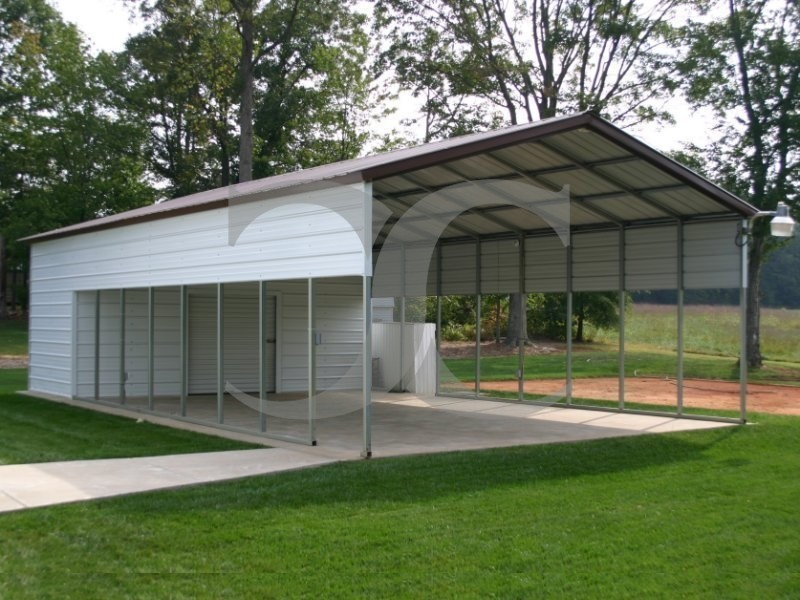 Carport vertical roof 20w x 51l x 8h for Carport shop combo