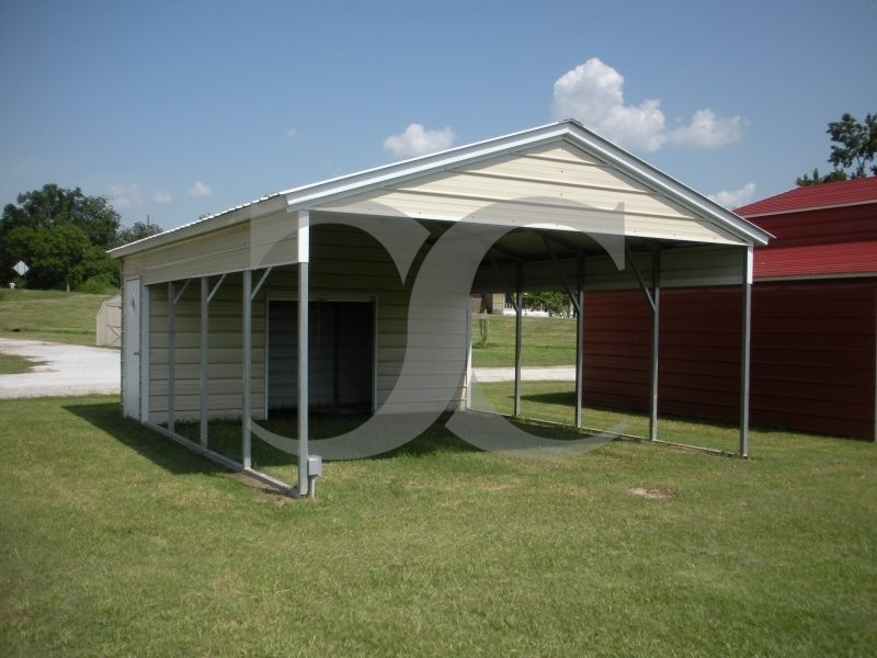 Carport vertical roof 20w x 26l x 7h utility for Carport shop combo
