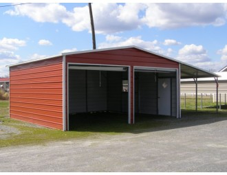Garage   Boxed Eave Roof   20W x 26L x 9H    Metal Garage with Lean-to
