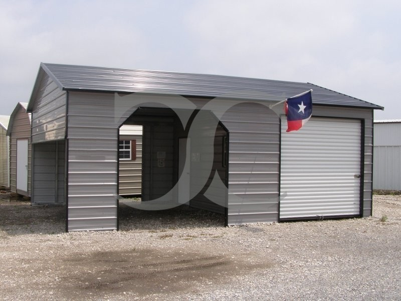 Metal Garages And Shelters : Garage boxed eave roof w l h metal