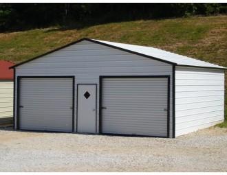 Garage | Boxed Eave Roof | 24W x 21L x 9H |  2-Car Metal Garage