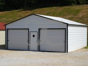 Garage | Boxed Eave Roof | 24W x 21L x 9H |  2-Car Metal Garage