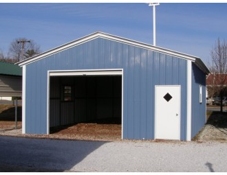 1-Car Metal Garage | Vertical Roof | 20W x 21L x 9H | Enclosed Garage