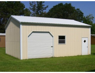 Side Entry Metal Garage | Vertical Roof | 22W x 26L x 10H |  Enclosed Garage